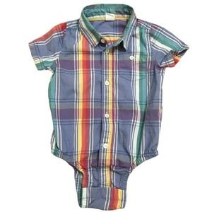 Baby Gap Oxford Bodysuit Plaid Boys 12-18 Months